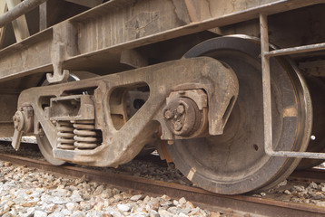 Wheels and suspension of wagon of a freight train