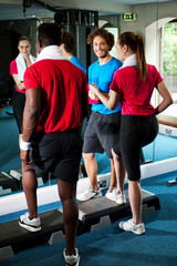 Fit people working out in fitness centre