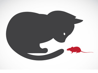 Vector image of an cats and rats on white background