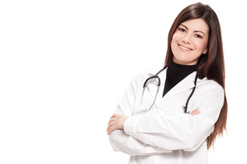 Attractive female doctor over white isolated background