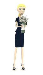 3d render of cartoon character with wedding flower