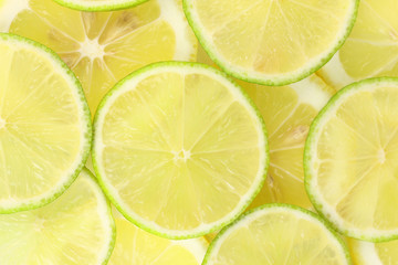 Lime and lemon slices background