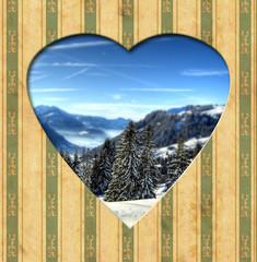 Papiers peints Affiche vintage Vintage Heart - Alpen