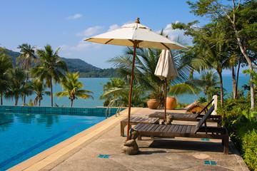 Swimming pool near the sea, Thailand.