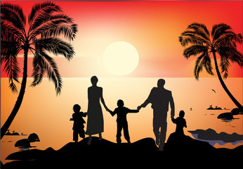 family and palm trees silhouettes at sea sunset