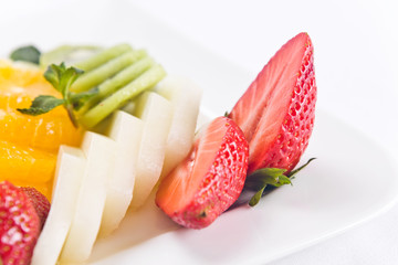 Fresh fruits with peppermint