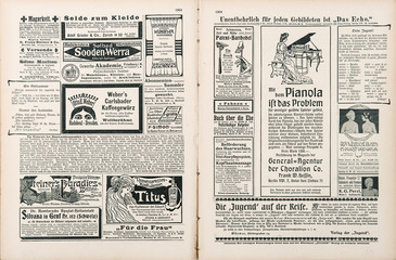Foto auf Acrylglas Zeitungen newspaper page with antique advertisement