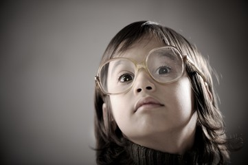Fine portrait of cute little boy in retro style