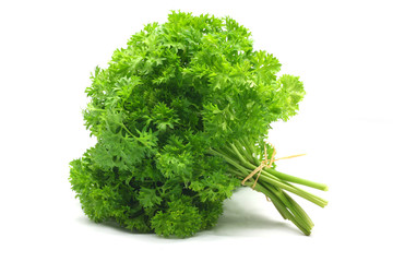 Wall Mural - parsley on white background