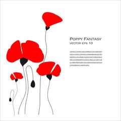 Poppy Fantasy Vector Illustration