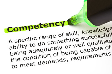 Dictionary definition of the word Competency