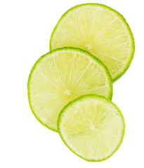 Slices of lime fruit for background