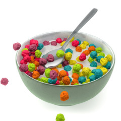 Cereals in a bowl of milk