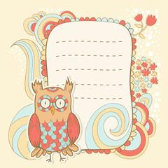 Cute cartoon owl invitation fcard