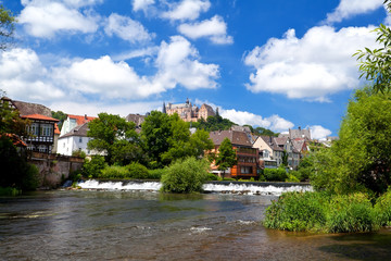 Wall Mural - castle over river in Marburg, Germany