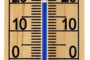 Straight close up Mercury room thermometer in celsius