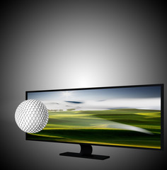 3D TV with golf ball on the display