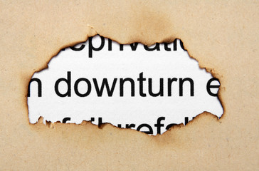 Downturn text on paper hole