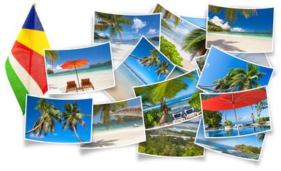 drapeau et photos des Seychelles