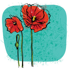 Canvas Prints Abstract Floral Red Poppies on background