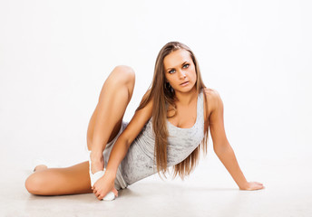 fitness woman sitting