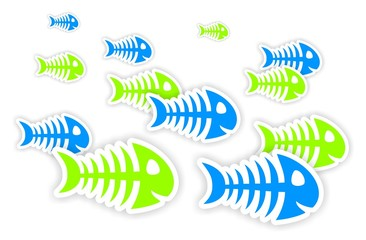 blue and green fish bone stickers