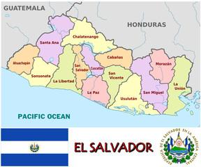 El Salvador America  emblem map symbol administrative divisions