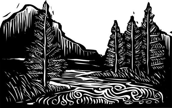 Woodcut Landscape