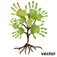 Vector conceptual hand print tree