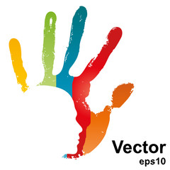 Vector hand print with a face