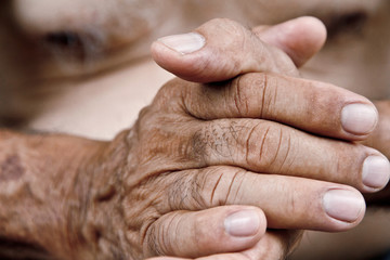 close up of old man hand