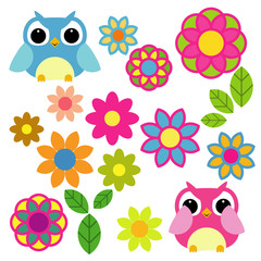Set of vector elements - owls, flowers, leafs