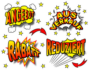 deutsche Cartoon Beschriftungen