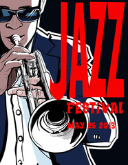 Printed roller blinds Music Band Jazz poster with trumpeter