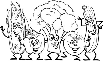 comic vegetables for coloring book