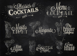 Set cocktail menu chalk