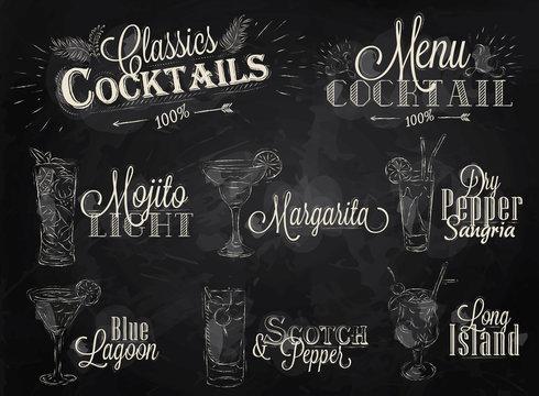 Set cocktail menu chalk