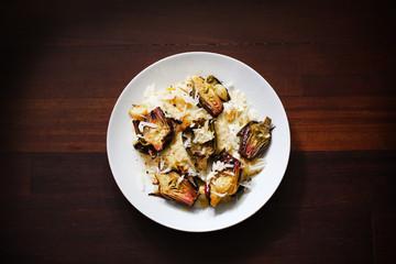 Risotto with mozzarella, roasted artichokes and parmesan