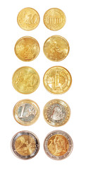 All nominals of euro coins isolated
