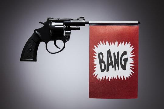 Gun crime concept of hand pistol
