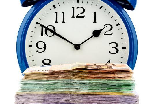 clock and banknotes