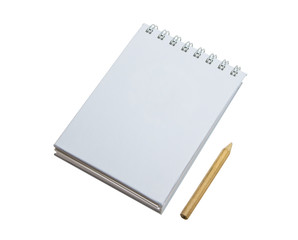 Spiral note pad and pencil.