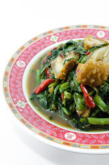 Fried Morning Glory with Crispy Pork