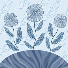 Greeting card with three blue flowers