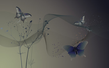 Desktop wallpaper - background with butterflies