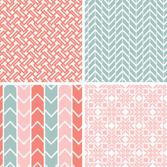 Vector set of four gray and pink geometric patterns and