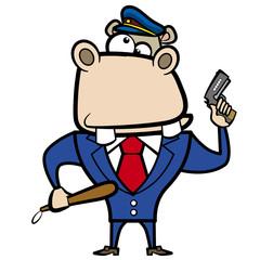 cartoon hippo police officer with gun