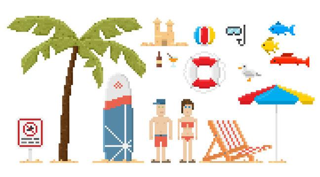 Pixel art style beach set. Vector illustration.