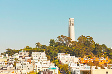 Telegraph hill with Coit tower in San Francisco. Blue sky.