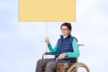 Wheelchair user, demonstrates for their situation